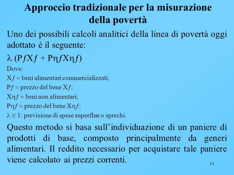 14 Approccio tradizionale per la misurazione della povertà Uno dei possibili calcoli analitici della linea di povertà oggi adottato è il seguente: (P