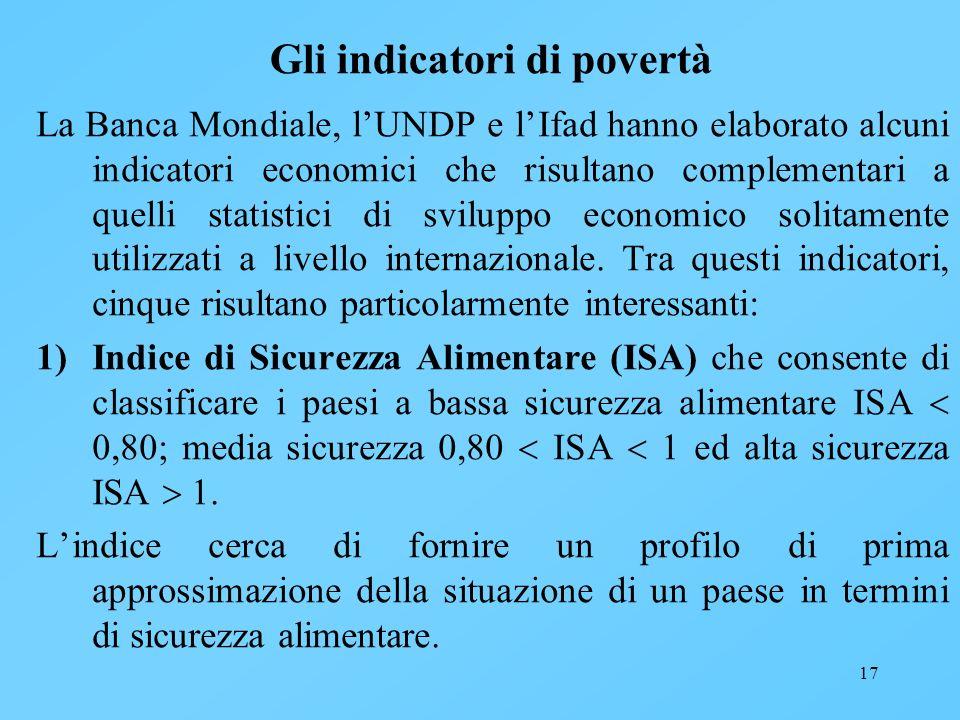 17 Gli indicatori di povertà La Banca Mondiale, lUNDP e lIfad hanno elaborato alcuni indicatori economici che risultano complementari a quelli statist