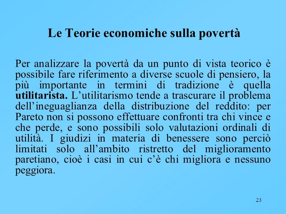 23 Le Teorie economiche sulla povertà Per analizzare la povertà da un punto di vista teorico è possibile fare riferimento a diverse scuole di pensiero