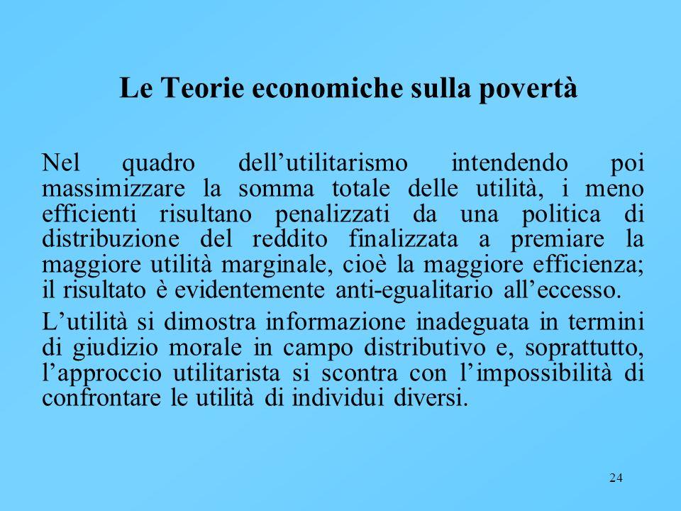24 Le Teorie economiche sulla povertà Nel quadro dellutilitarismo intendendo poi massimizzare la somma totale delle utilità, i meno efficienti risulta