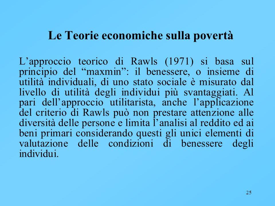 25 Le Teorie economiche sulla povertà Lapproccio teorico di Rawls (1971) si basa sul principio del maxmin: il benessere, o insieme di utilità individu