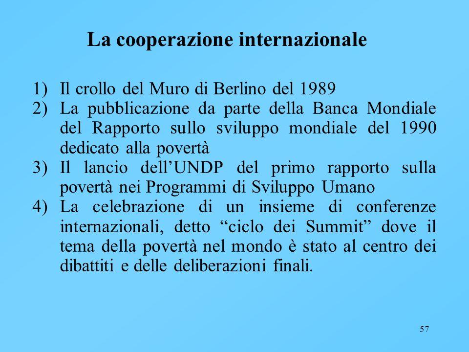 57 La cooperazione internazionale 1)Il crollo del Muro di Berlino del 1989 2)La pubblicazione da parte della Banca Mondiale del Rapporto sullo svilupp
