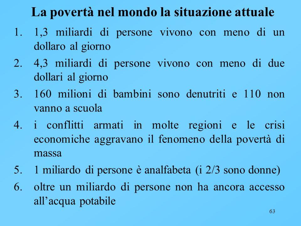 63 La povertà nel mondo la situazione attuale 1.1,3 miliardi di persone vivono con meno di un dollaro al giorno 2.4,3 miliardi di persone vivono con m