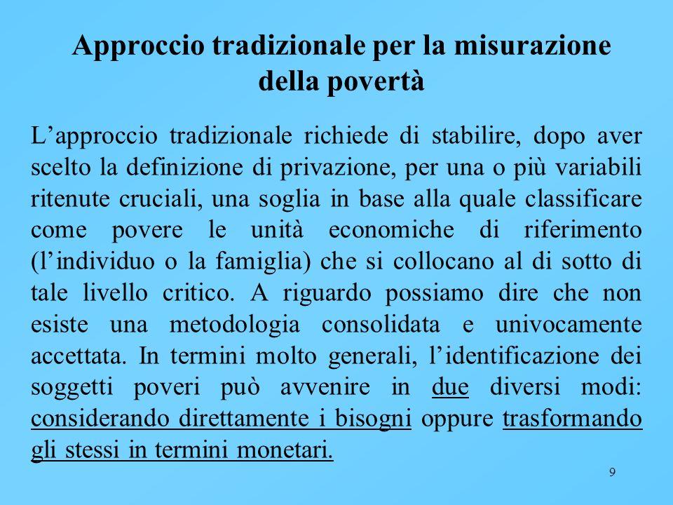 9 Approccio tradizionale per la misurazione della povertà Lapproccio tradizionale richiede di stabilire, dopo aver scelto la definizione di privazione