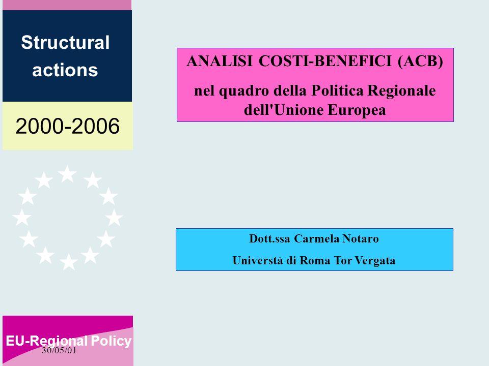 2000-2006 EU-Regional Policy Structural actions 30/05/01 ANALISI COSTI-BENEFICI (ACB) nel quadro della Politica Regionale dell Unione Europea Dott.ssa Carmela Notaro Universtà di Roma Tor Vergata