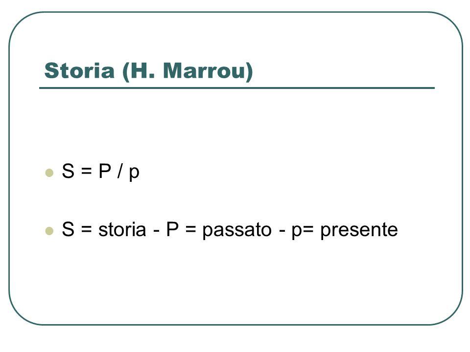 Storia (H. Marrou) S = P / p S = storia - P = passato - p= presente