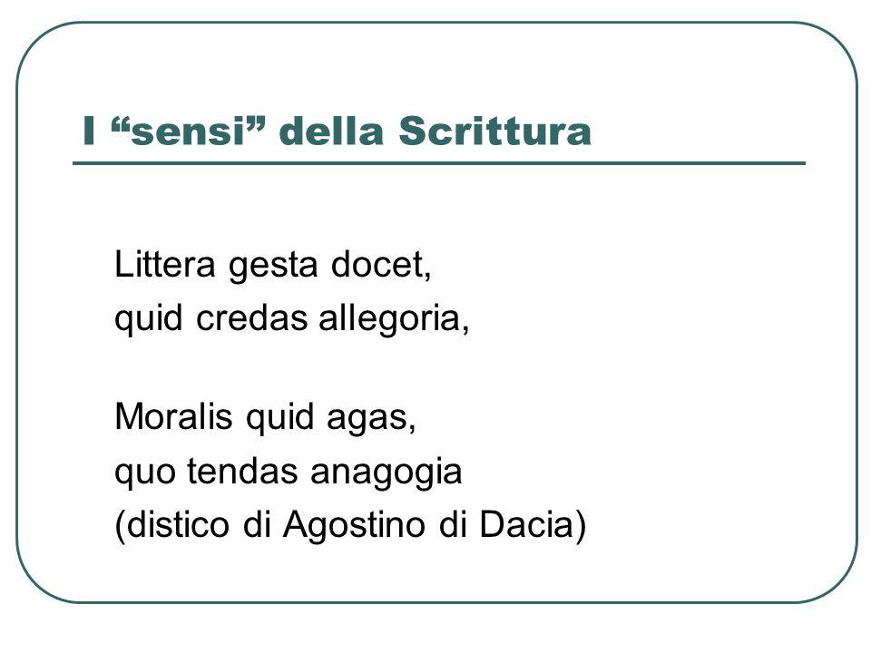 I sensi della Scrittura Littera gesta docet, quid credas allegoria, Moralis quid agas, quo tendas anagogia (distico di Agostino di Dacia)