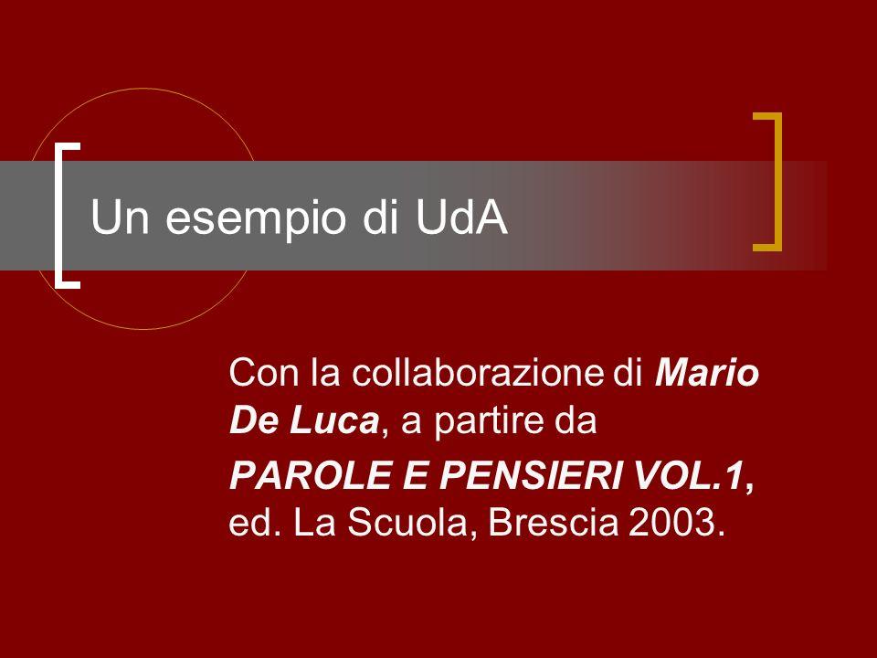 Un esempio di UdA Con la collaborazione di Mario De Luca, a partire da PAROLE E PENSIERI VOL.1, ed. La Scuola, Brescia 2003.