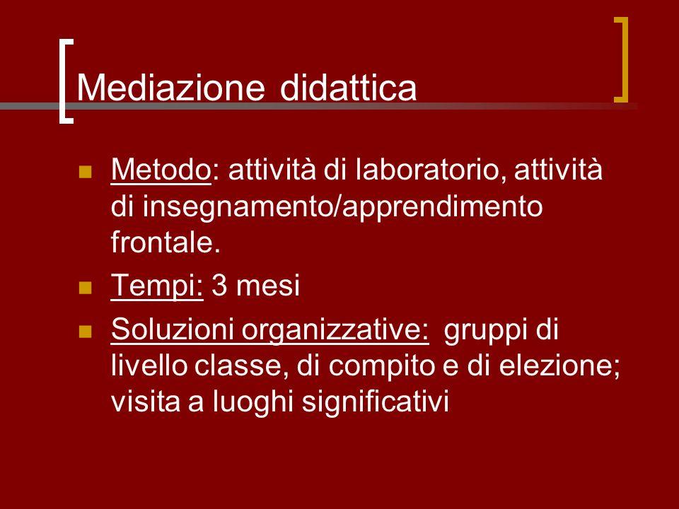Mediazione didattica Metodo: attività di laboratorio, attività di insegnamento/apprendimento frontale. Tempi: 3 mesi Soluzioni organizzative: gruppi d
