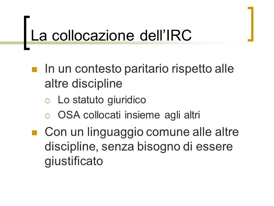 La collocazione dellIRC In un contesto paritario rispetto alle altre discipline Lo statuto giuridico OSA collocati insieme agli altri Con un linguaggi