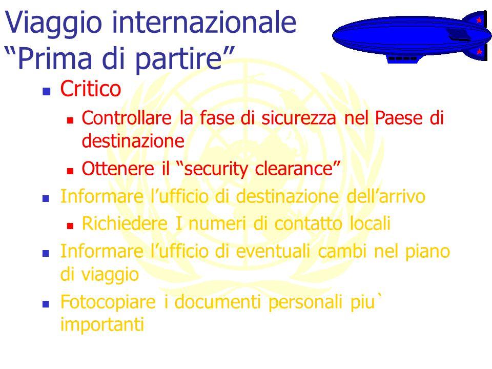 Viaggio internazionale Prima di partire Critico Controllare la fase di sicurezza nel Paese di destinazione Ottenere il security clearance Informare lu