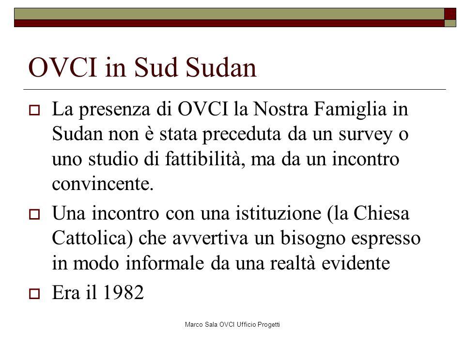 Marco Sala OVCI Ufficio Progetti OVCI in Sud Sudan La presenza di OVCI la Nostra Famiglia in Sudan non è stata preceduta da un survey o uno studio di