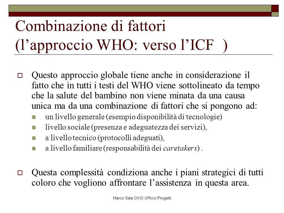 Marco Sala OVCI Ufficio Progetti Combinazione di fattori (lapproccio WHO: verso lICF ) Questo approccio globale tiene anche in considerazione il fatto