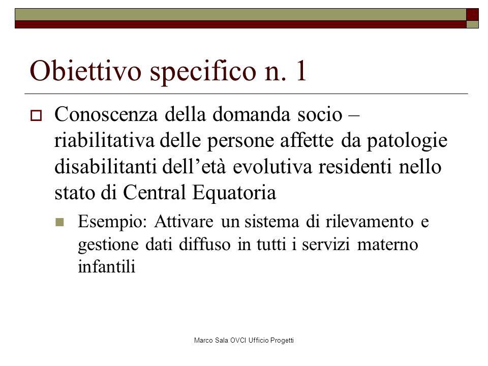 Marco Sala OVCI Ufficio Progetti Obiettivo specifico n. 1 Conoscenza della domanda socio – riabilitativa delle persone affette da patologie disabilita