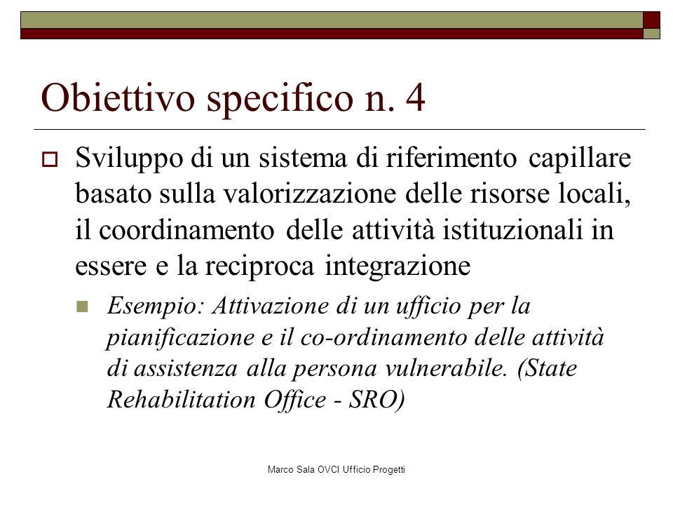 Marco Sala OVCI Ufficio Progetti Obiettivo specifico n. 4 Sviluppo di un sistema di riferimento capillare basato sulla valorizzazione delle risorse lo