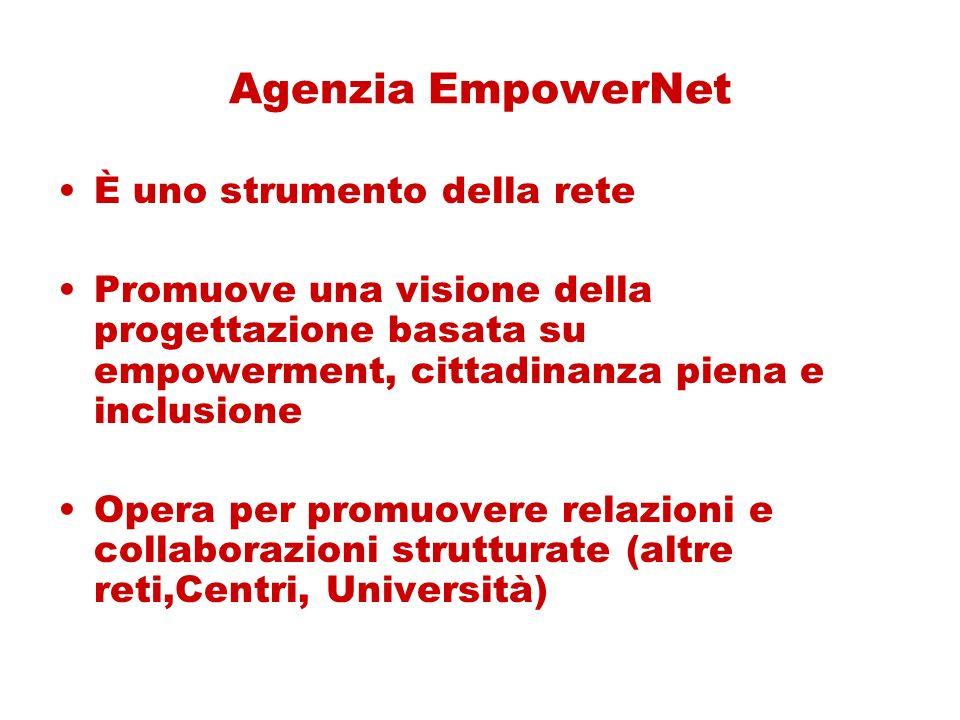 Agenzia EmpowerNet È uno strumento della rete Promuove una visione della progettazione basata su empowerment, cittadinanza piena e inclusione Opera per promuovere relazioni e collaborazioni strutturate (altre reti,Centri, Università)