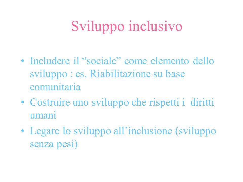Sviluppo inclusivo Includere il sociale come elemento dello sviluppo : es. Riabilitazione su base comunitaria Costruire uno sviluppo che rispetti i di