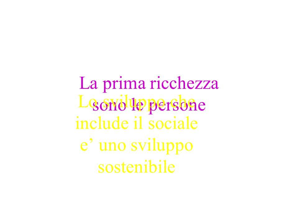 La prima ricchezza sono le persone Lo sviluppo che include il sociale e uno sviluppo sostenibile