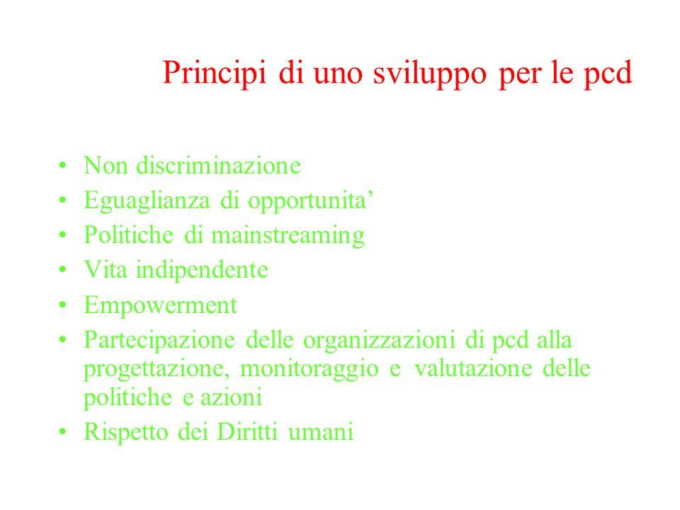 Principi di uno sviluppo per le pcd Non discriminazione Eguaglianza di opportunita Politiche di mainstreaming Vita indipendente Empowerment Partecipaz