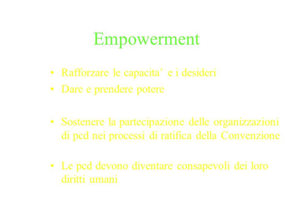 Empowerment Rafforzare le capacita e i desideri Dare e prendere potere Sostenere la partecipazione delle organizzazioni di pcd nei processi di ratifica della Convenzione Le pcd devono diventare consapevoli dei loro diritti umani
