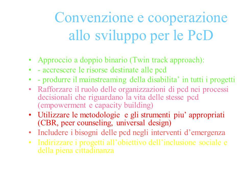 Convenzione e cooperazione allo sviluppo per le PcD Approccio a doppio binario (Twin track approach): - accrescere le risorse destinate alle pcd - produrre il mainstreaming della disabilita in tutti i progetti Rafforzare il ruolo delle organizzazioni di pcd nei processi decisionali che riguardano la vita delle stesse pcd (empowerment e capacity building) Utilizzare le metodologie e gli strumenti piu appropriati (CBR, peer counseling, universal design) Includere i bisogni delle pcd negli interventi demergenza Indirizzare i progetti allobiettivo dellinclusione sociale e della piena cittadinanza