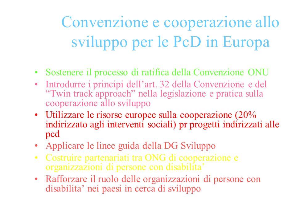 Convenzione e cooperazione allo sviluppo per le PcD in Europa Sostenere il processo di ratifica della Convenzione ONU Introdurre i principi dellart.
