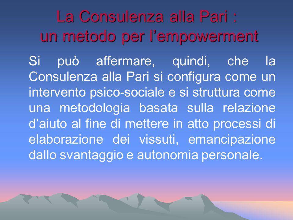 La Consulenza alla Pari : un metodo per lempowerment Si può affermare, quindi, che la Consulenza alla Pari si configura come un intervento psico-socia