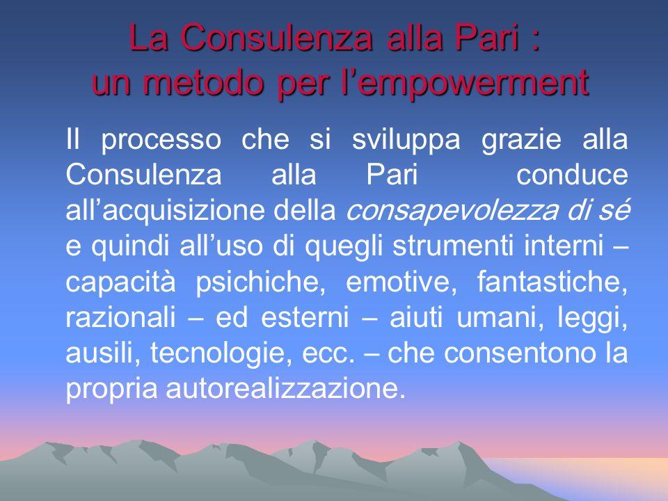 La Consulenza alla Pari : un metodo per lempowerment Il processo che si sviluppa grazie alla Consulenza alla Pari conduce allacquisizione della consap