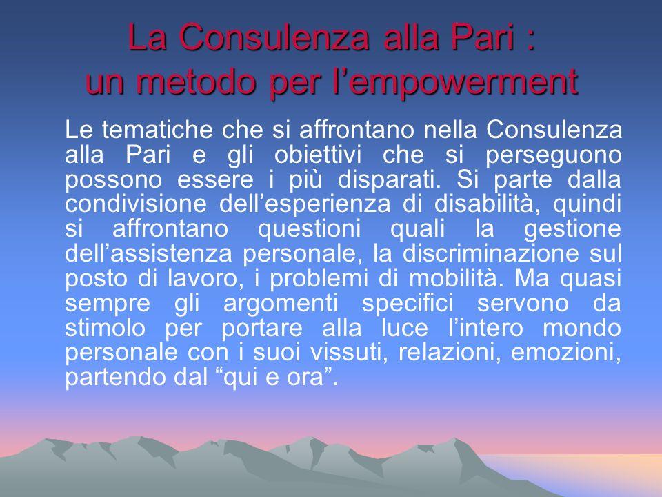 La Consulenza alla Pari : un metodo per lempowerment Le tematiche che si affrontano nella Consulenza alla Pari e gli obiettivi che si perseguono posso