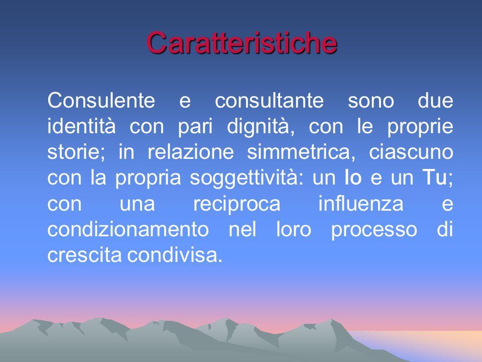 Caratteristiche Consulente e consultante sono due identità con pari dignità, con le proprie storie; in relazione simmetrica, ciascuno con la propria s