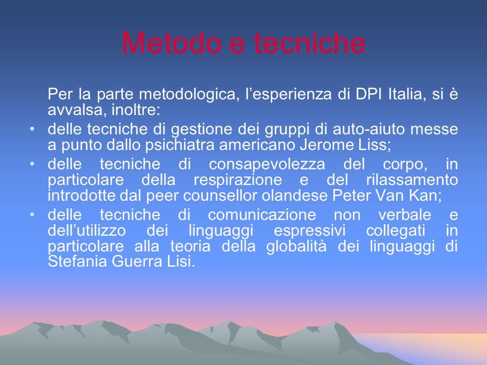 Metodo e tecniche Per la parte metodologica, lesperienza di DPI Italia, si è avvalsa, inoltre: delle tecniche di gestione dei gruppi di auto-aiuto mes