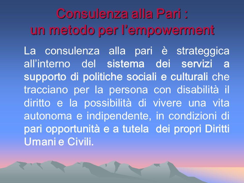 Consulenza alla Pari : un metodo per lempowerment La consulenza alla pari è strateggica allinterno del sistema dei servizi a supporto di politiche soc