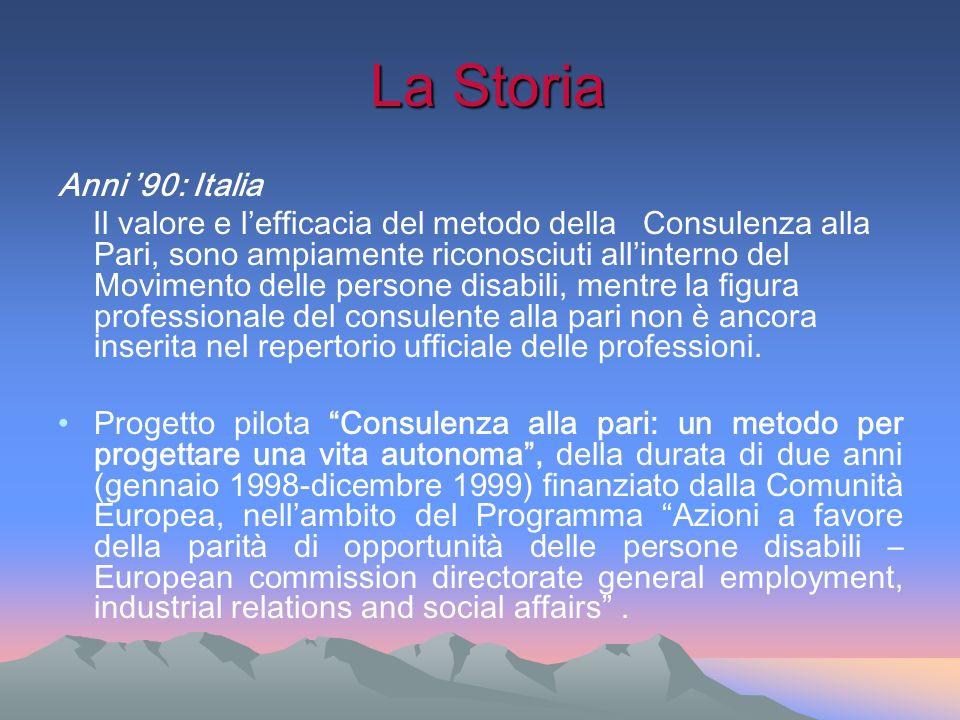 La Storia La Storia Anni 90: Italia Il valore e lefficacia del metodo della Consulenza alla Pari, sono ampiamente riconosciuti allinterno del Moviment