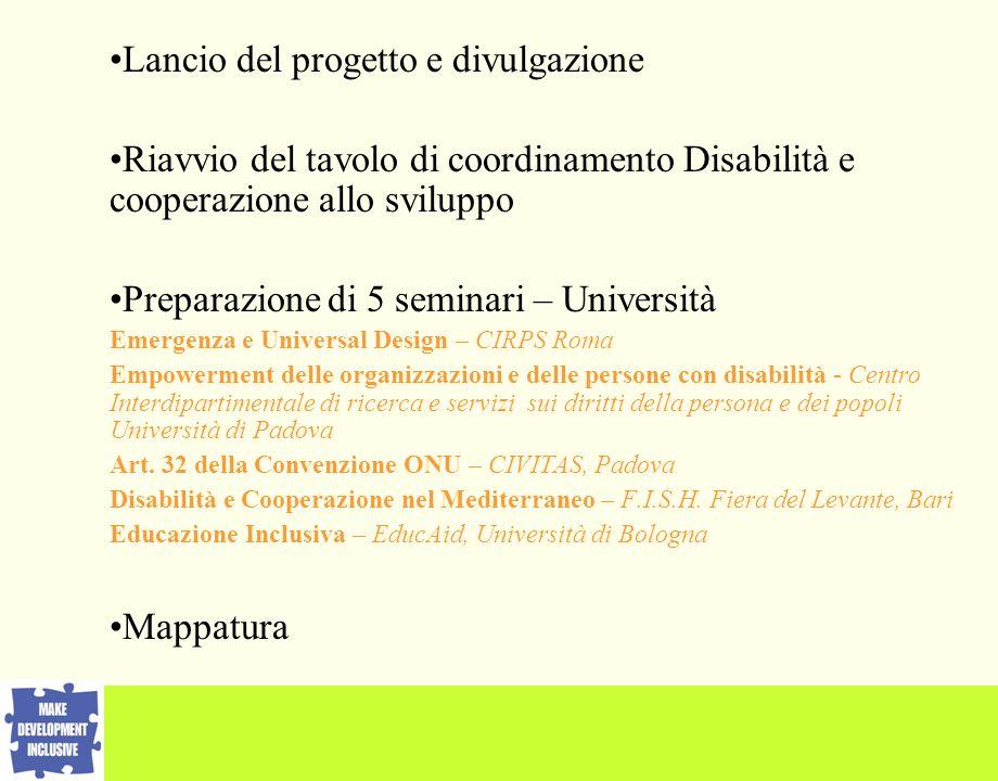Lancio del progetto e divulgazione Riavvio del tavolo di coordinamento Disabilità e cooperazione allo sviluppo Preparazione di 5 seminari – Università