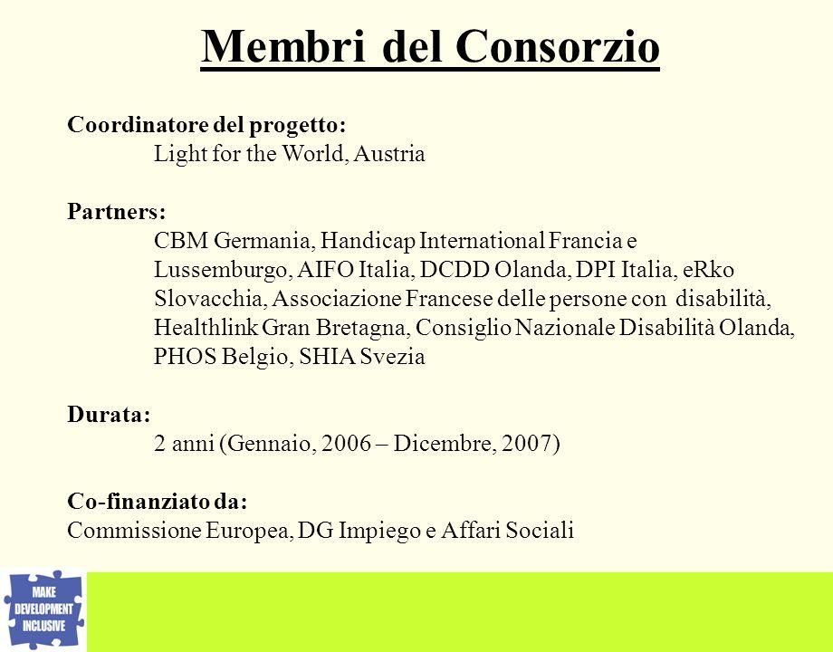 Membri del Consorzio Coordinatore del progetto: Light for the World, Austria Partners: CBM Germania, Handicap International Francia e Lussemburgo, AIF