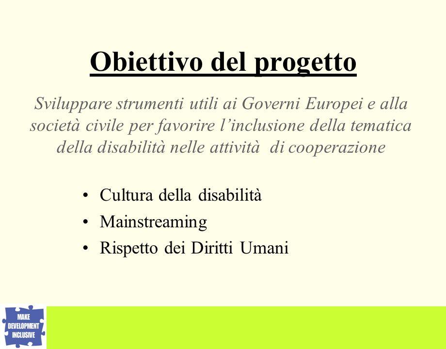 Obiettivo del progetto Sviluppare strumenti utili ai Governi Europei e alla società civile per favorire linclusione della tematica della disabilità nelle attività di cooperazione Cultura della disabilità Mainstreaming Rispetto dei Diritti Umani