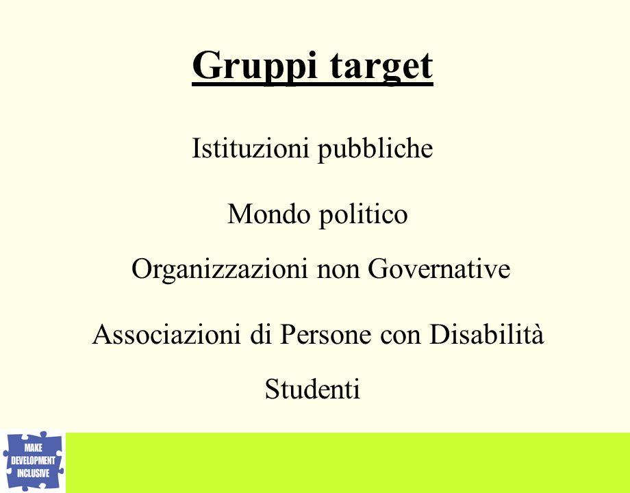 Istituzioni pubbliche Mondo politico Organizzazioni non Governative Associazioni di Persone con Disabilità Gruppi target Studenti