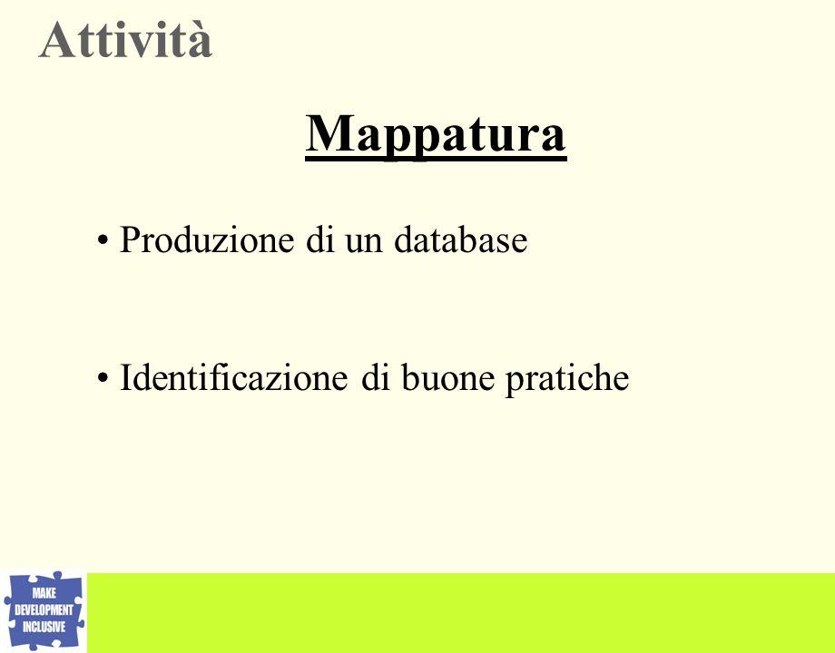 Produzione di un database Identificazione di buone pratiche Attività Mappatura