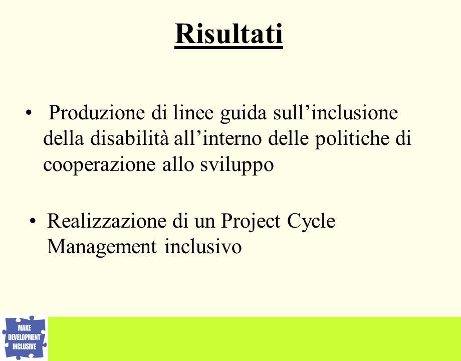 Produzione di linee guida sullinclusione della disabilità allinterno delle politiche di cooperazione allo sviluppo Realizzazione di un Project Cycle Management inclusivo Risultati