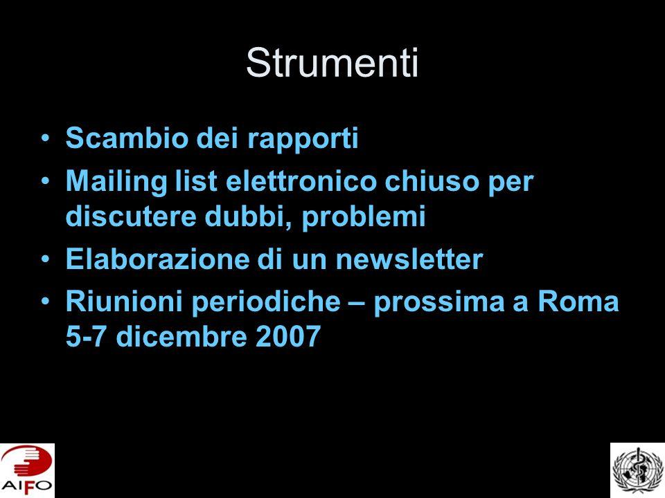 Strumenti Scambio dei rapporti Mailing list elettronico chiuso per discutere dubbi, problemi Elaborazione di un newsletter Riunioni periodiche – prossima a Roma 5-7 dicembre 2007