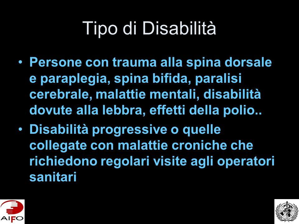 Tipo di Disabilità Persone con trauma alla spina dorsale e paraplegia, spina bifida, paralisi cerebrale, malattie mentali, disabilità dovute alla lebbra, effetti della polio..
