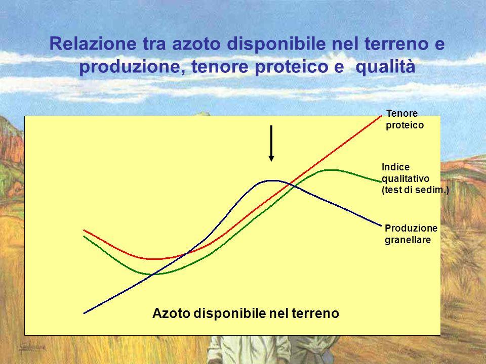 Azoto disponibile nel terreno Relazione tra azoto disponibile nel terreno e produzione, tenore proteico e qualità Tenore proteico Indice qualitativo (