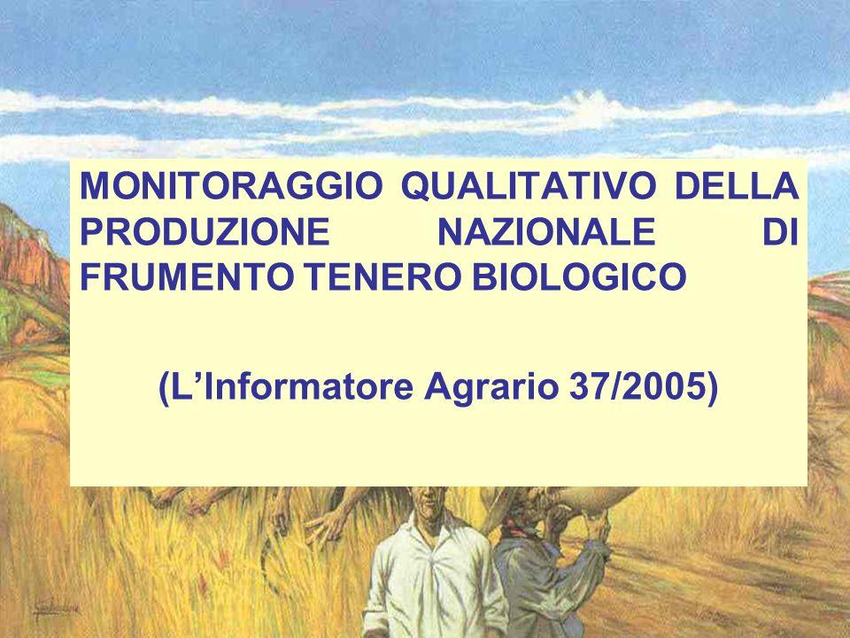 MONITORAGGIO QUALITATIVO DELLA PRODUZIONE NAZIONALE DI FRUMENTO TENERO BIOLOGICO (LInformatore Agrario 37/2005)