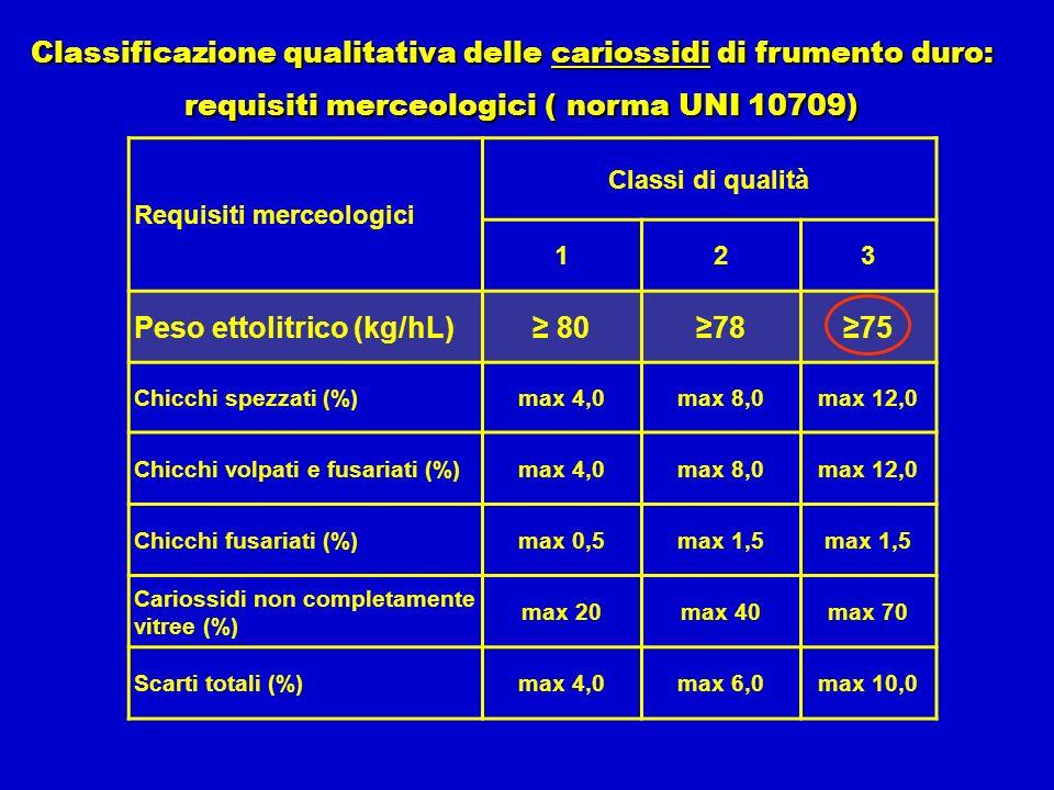 Requisiti merceologici Classi di qualità 123 Peso ettolitrico (kg/hL) 807875 Chicchi spezzati (%)max 4,0max 8,0max 12,0 Chicchi volpati e fusariati (%