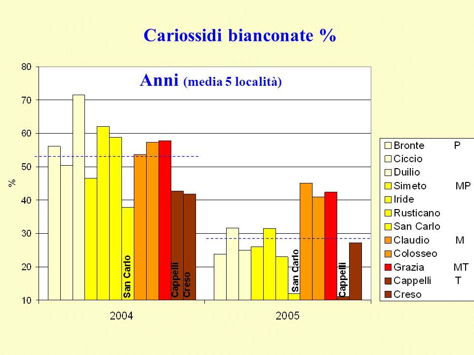 Cariossidi bianconate % Anni (media 5 località)