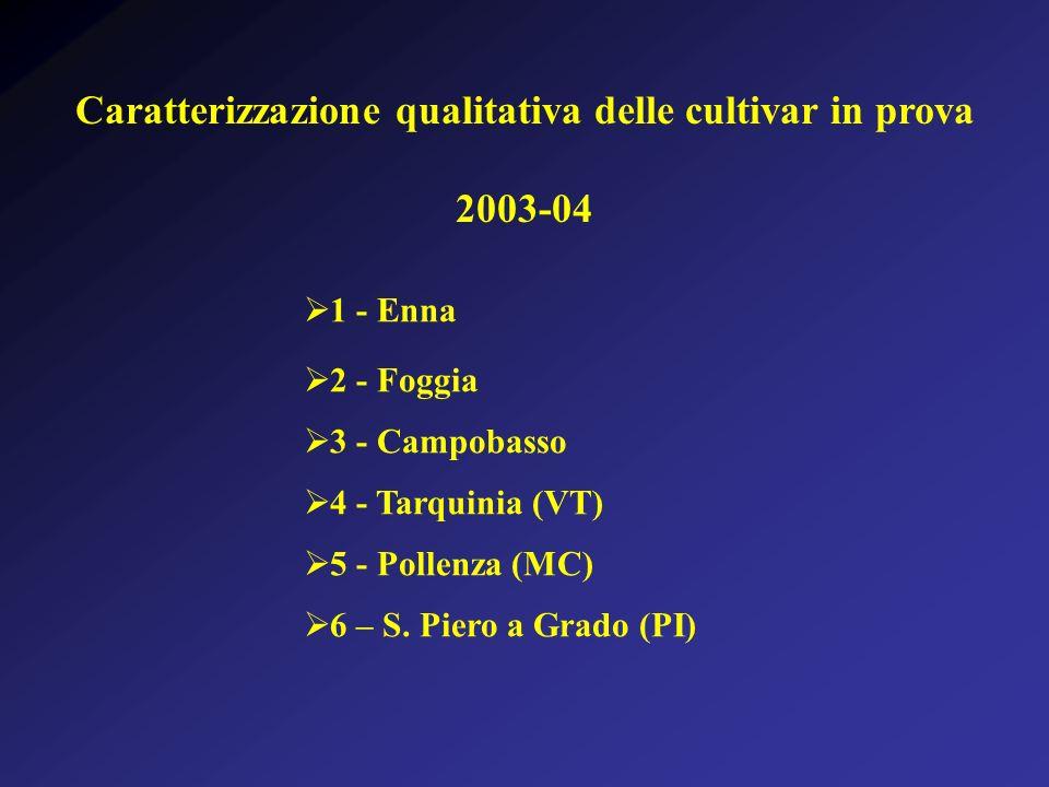 Caratterizzazione qualitativa delle cultivar in prova 2003-04 1 - Enna 2 - Foggia 3 - Campobasso 4 - Tarquinia (VT) 5 - Pollenza (MC) 6 – S. Piero a G