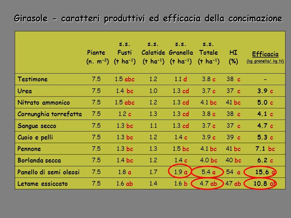 Piante (n. m -2 ) s.s. Fusti (t ha -1 ) s.s. Calatide (t ha -1 ) s.s. Granella (t ha -1 ) s.s. Totale (t ha -1 ) HI (%) Efficacia (kg granella/ kg N)