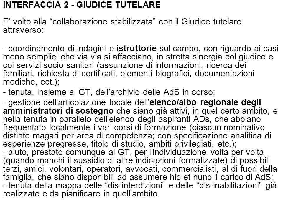 INTERFACCIA 2 - GIUDICE TUTELARE E volto alla collaborazione stabilizzata con il Giudice tutelare attraverso: - coordinamento di indagini e istruttori