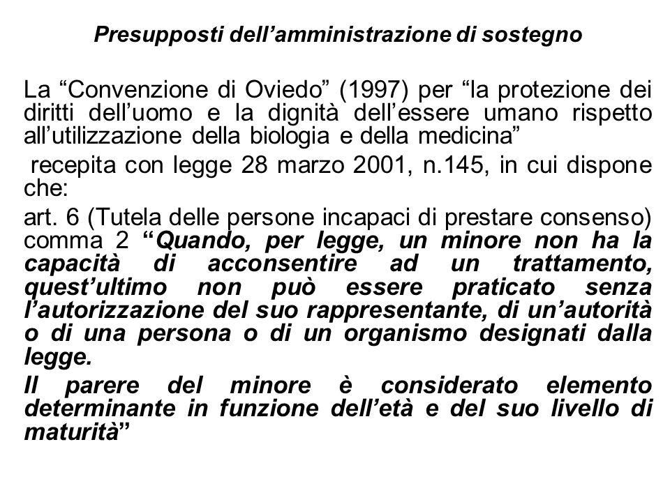 Presupposti dellamministrazione di sostegno La Convenzione di Oviedo (1997) per la protezione dei diritti delluomo e la dignità dellessere umano rispe