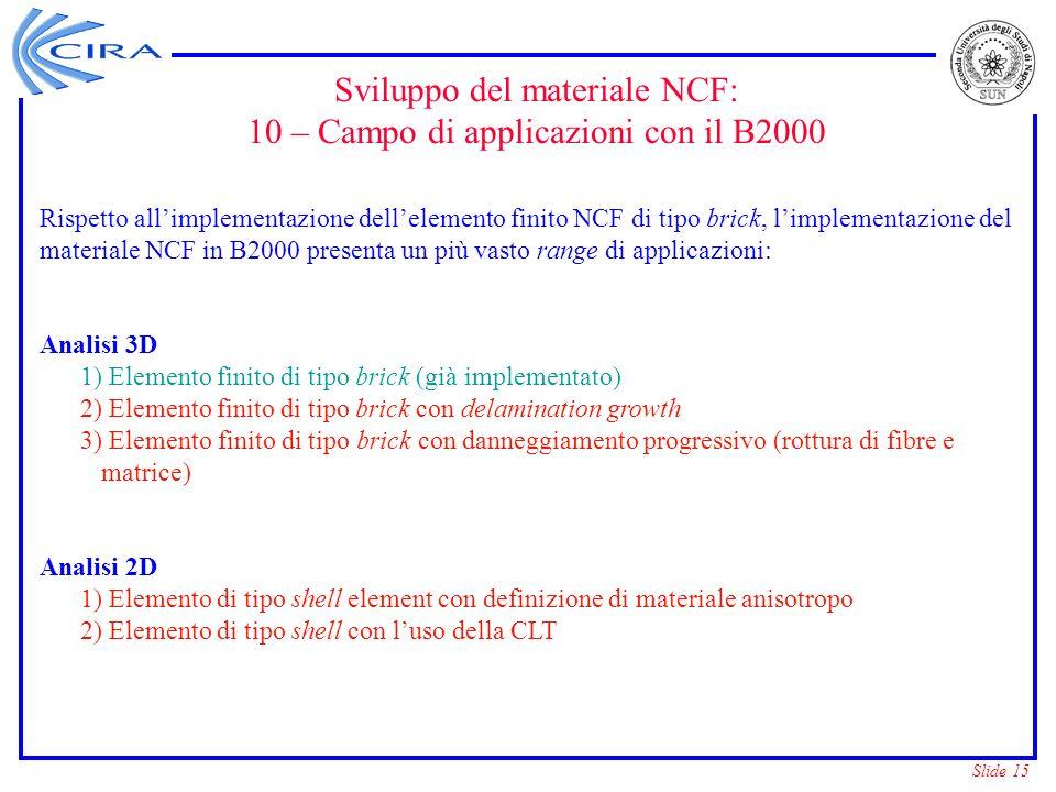 Slide 15 Sviluppo del materiale NCF: 10 – Campo di applicazioni con il B2000 Rispetto allimplementazione dellelemento finito NCF di tipo brick, limple